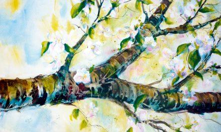 Auswaschtechnik-Acryl: Äste und Bäume